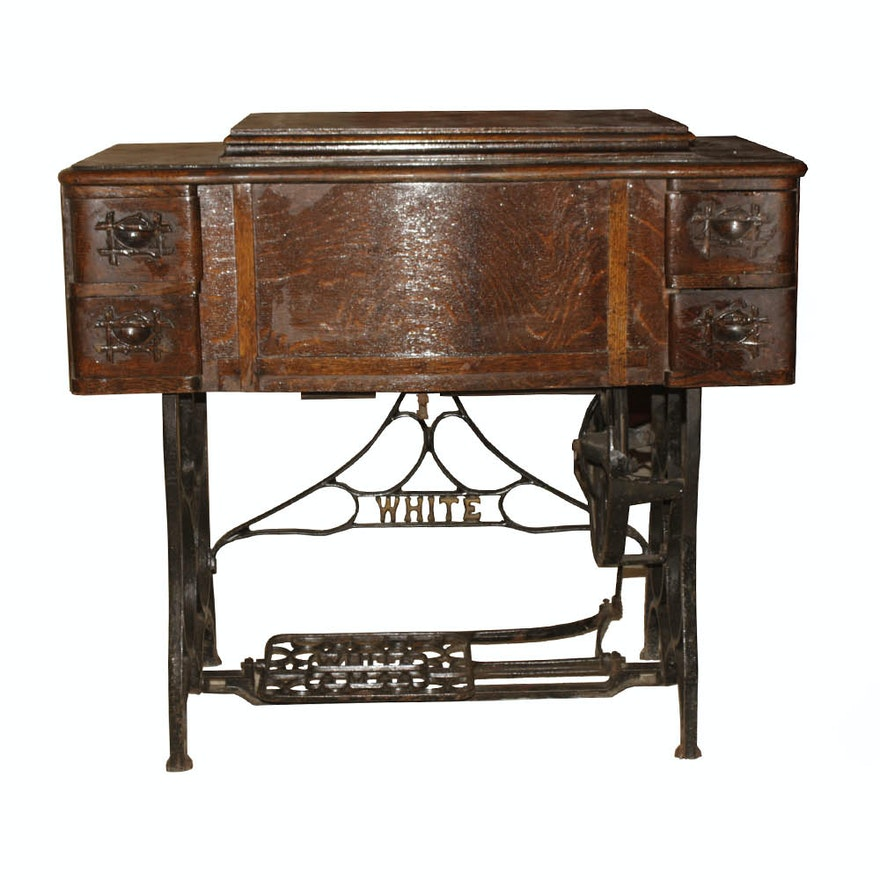 Antique 40 White Rotary Treadle Sewing Machine And Cabinet EBTH Best 1913 White Rotary Sewing Machine