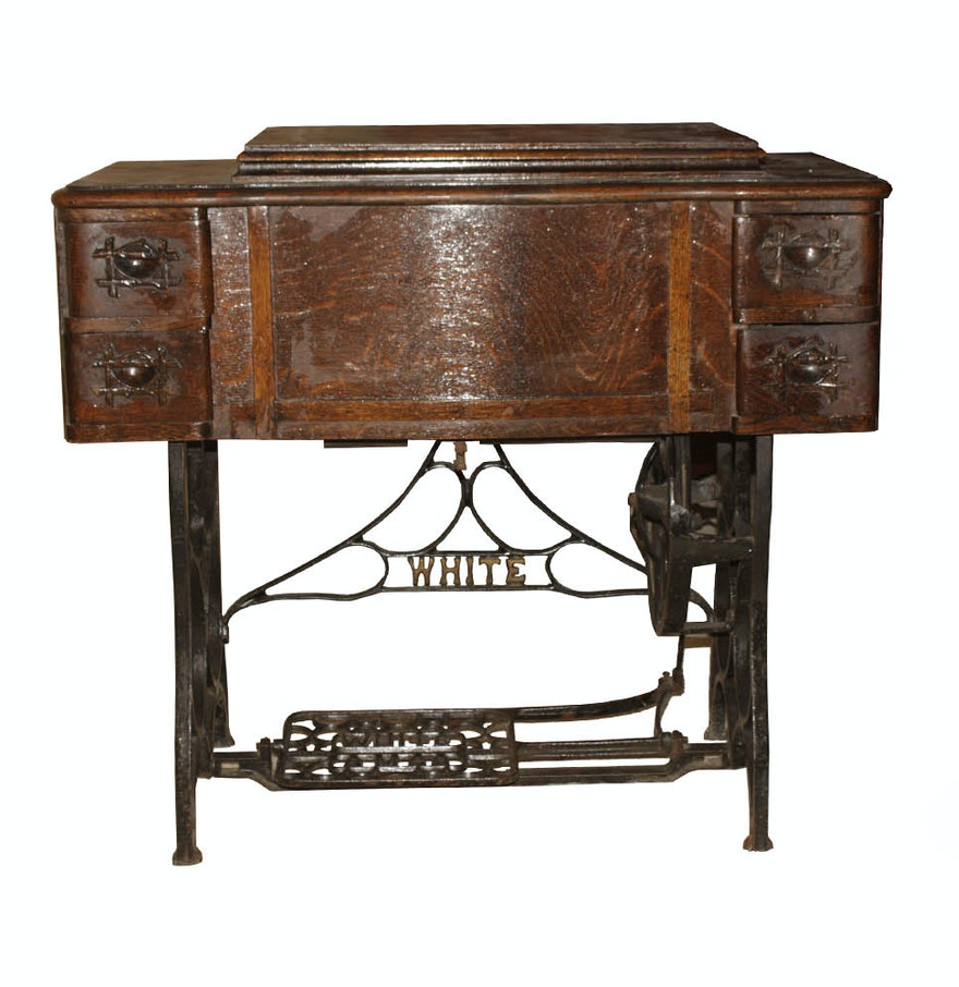 Treadle Sewing Machine Cabinet Antique 1913 White Rotary Treadle Sewing Machine And Cabinet Ebth