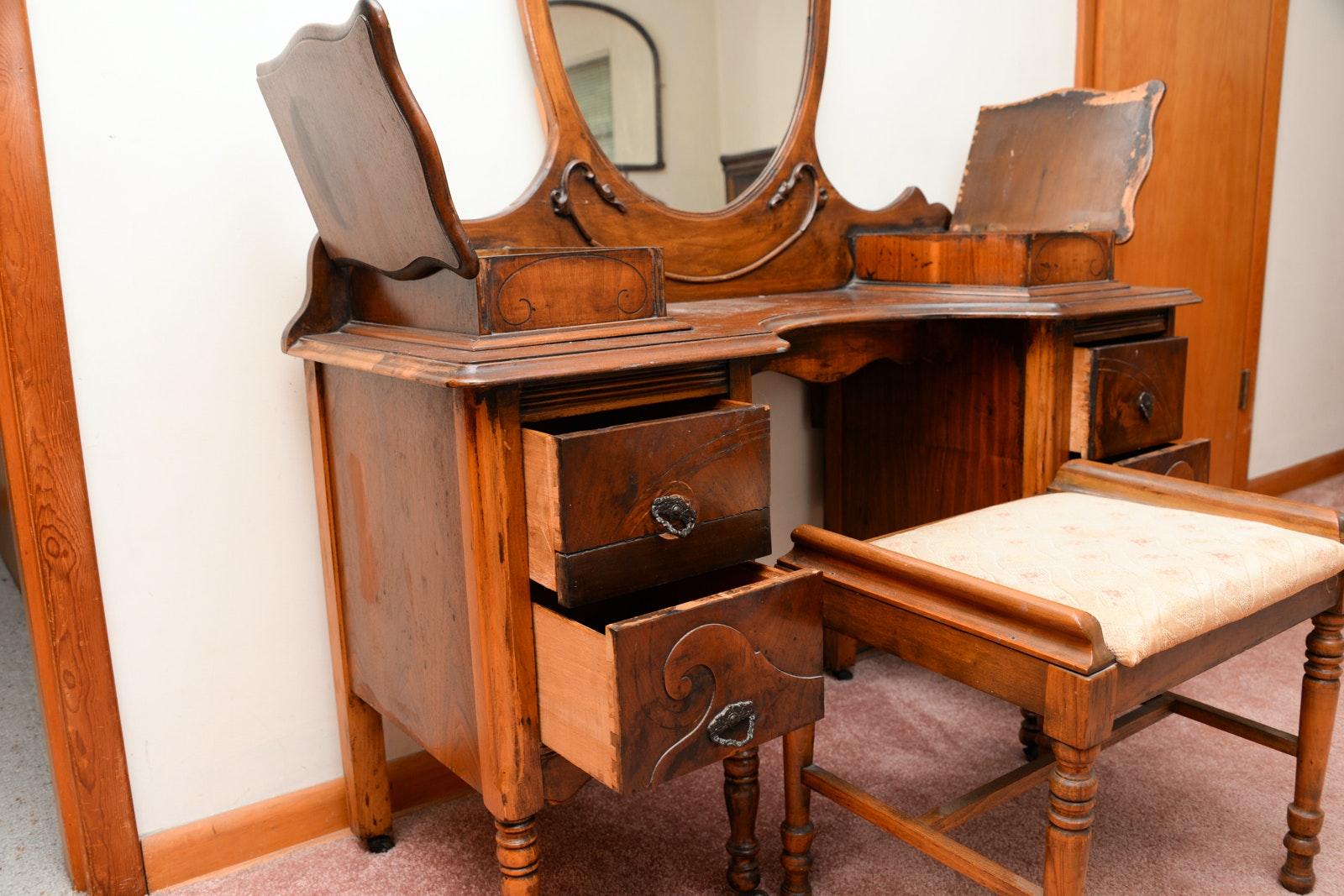 Vintage Burl Walnut Vanity With Mirror And Stool Ebth