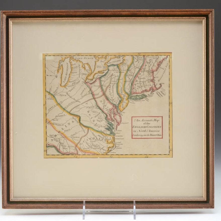 1754 Map Of Colonial America Ebth