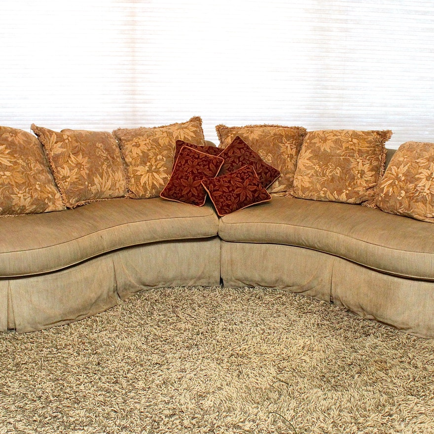 Fabulous Flair Curved Sectional Pillow Back Sofa Caraccident5 Cool Chair Designs And Ideas Caraccident5Info