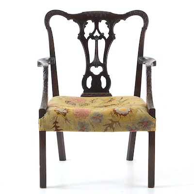 Mahogany Irish Chippendale Arm Chair - Vintage Chairs, Antique Chairs And Retro Chairs Auction In