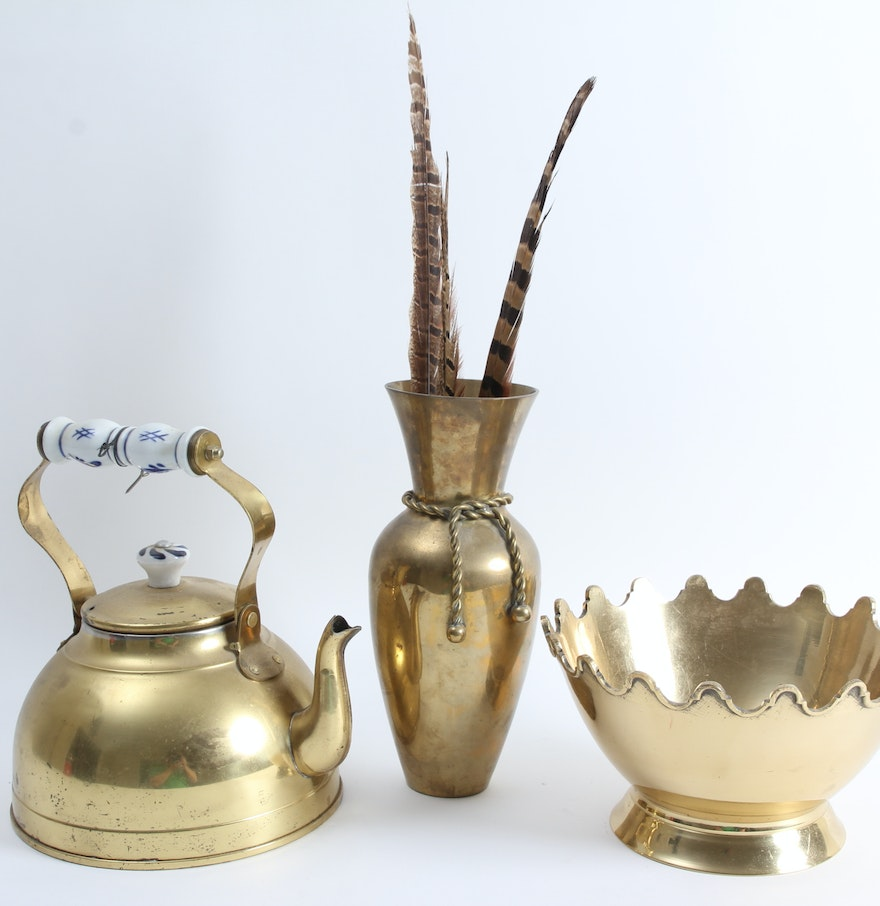 Trio of brass home decor items ebth for Brass home decor