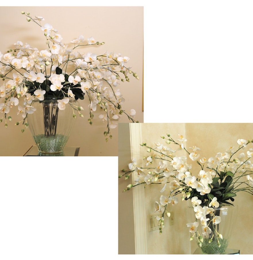 Pair Of Clear Glass Floor Vases With Faux Orchid Arrangement EBTH - Clear glass floor vases