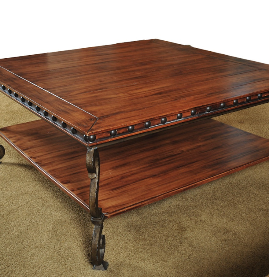 Rod iron coffee table - Oak And Wrought Iron Coffee Table