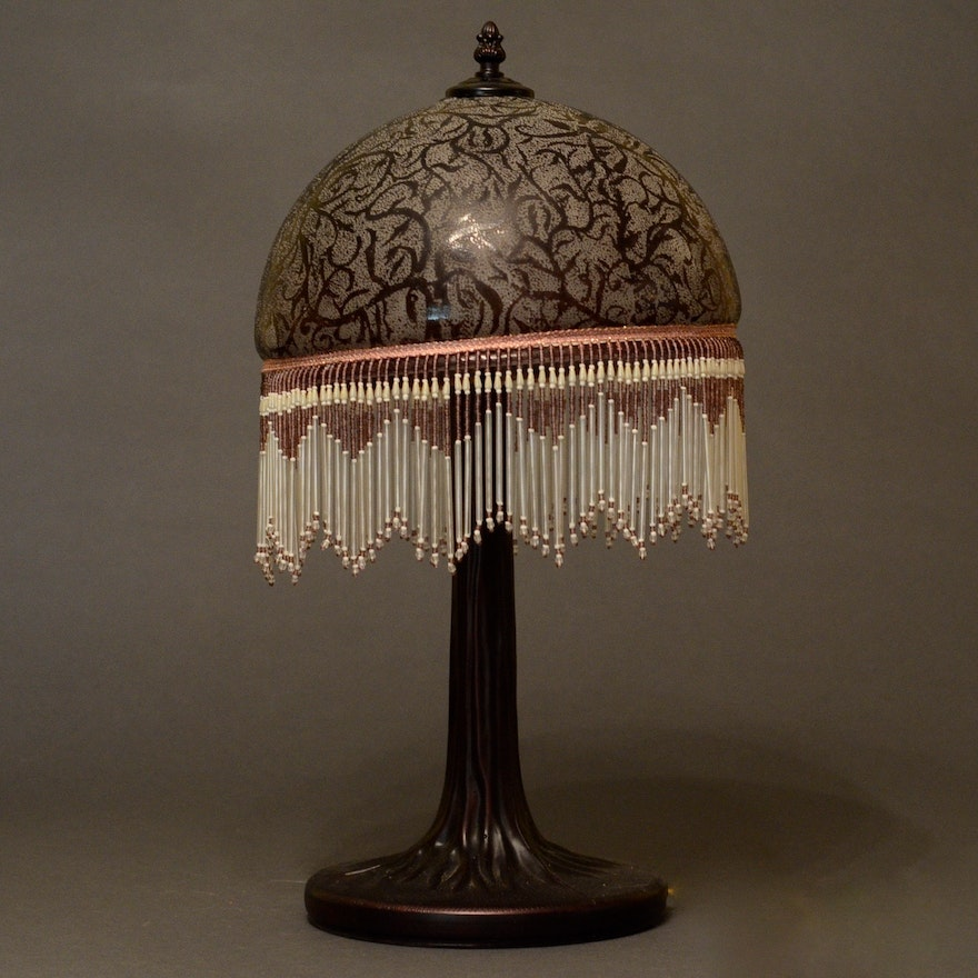 Etched Metal Lamp Shade: Victorian Style Glass Fringe Lamp : EBTH