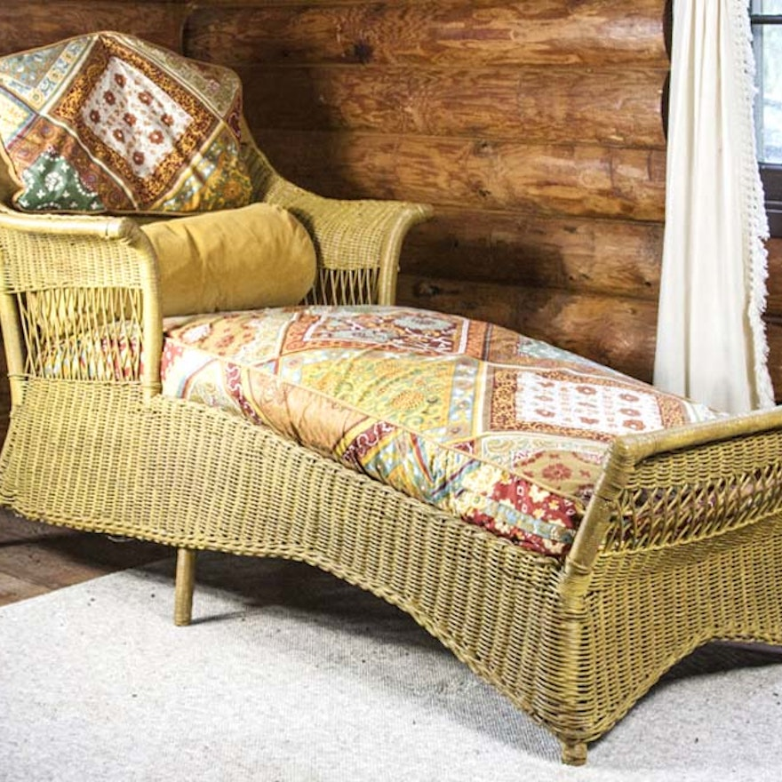Antique Wicker Chaise Lounge Ebth