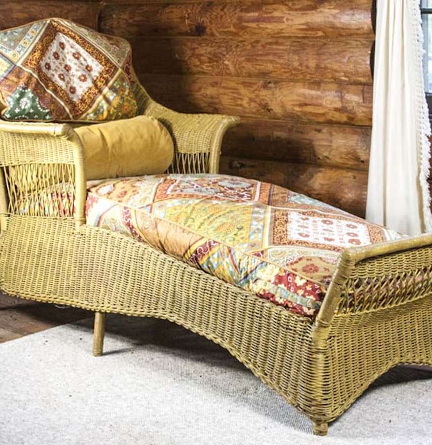 Antique wicker chaise lounge ebth for Antique wicker chaise lounge