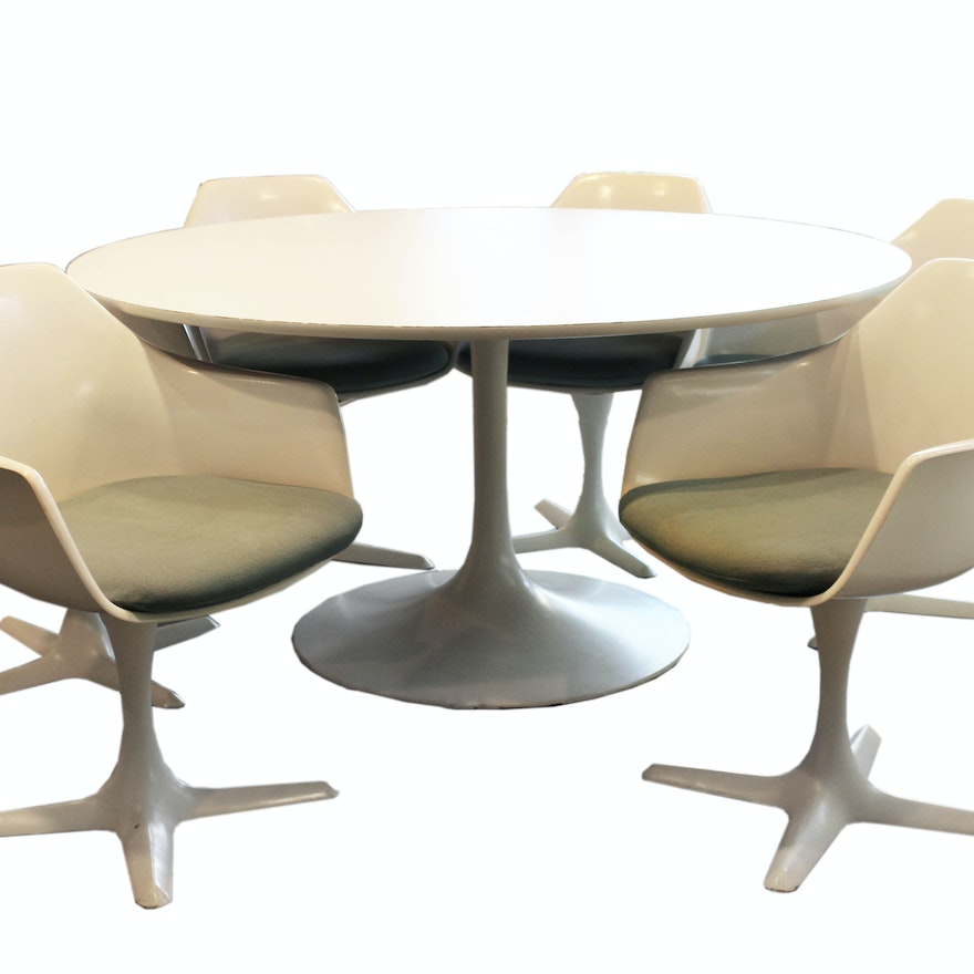 Mid Century Modern Burke Dining Table With Tulip Chairs