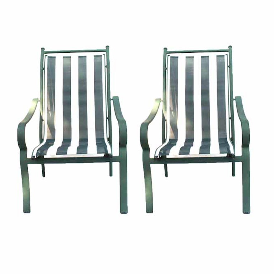 Pair Of Green And White Striped Patio Chairs