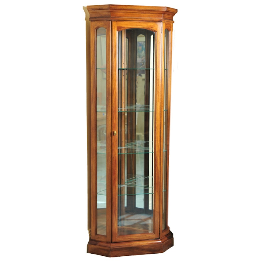 American Of Martinsville Corner Lighted Display Cabinet Ebth