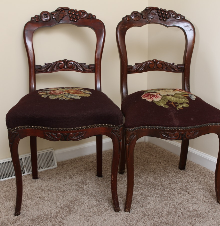 Rococo revival furniture - Rococo Revival Rosewood Chairs With Needlepoint Seat