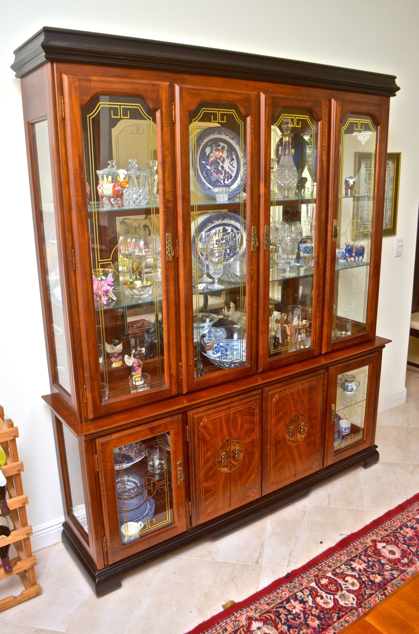 China Hutch With Asian Influenced Detail Ebth