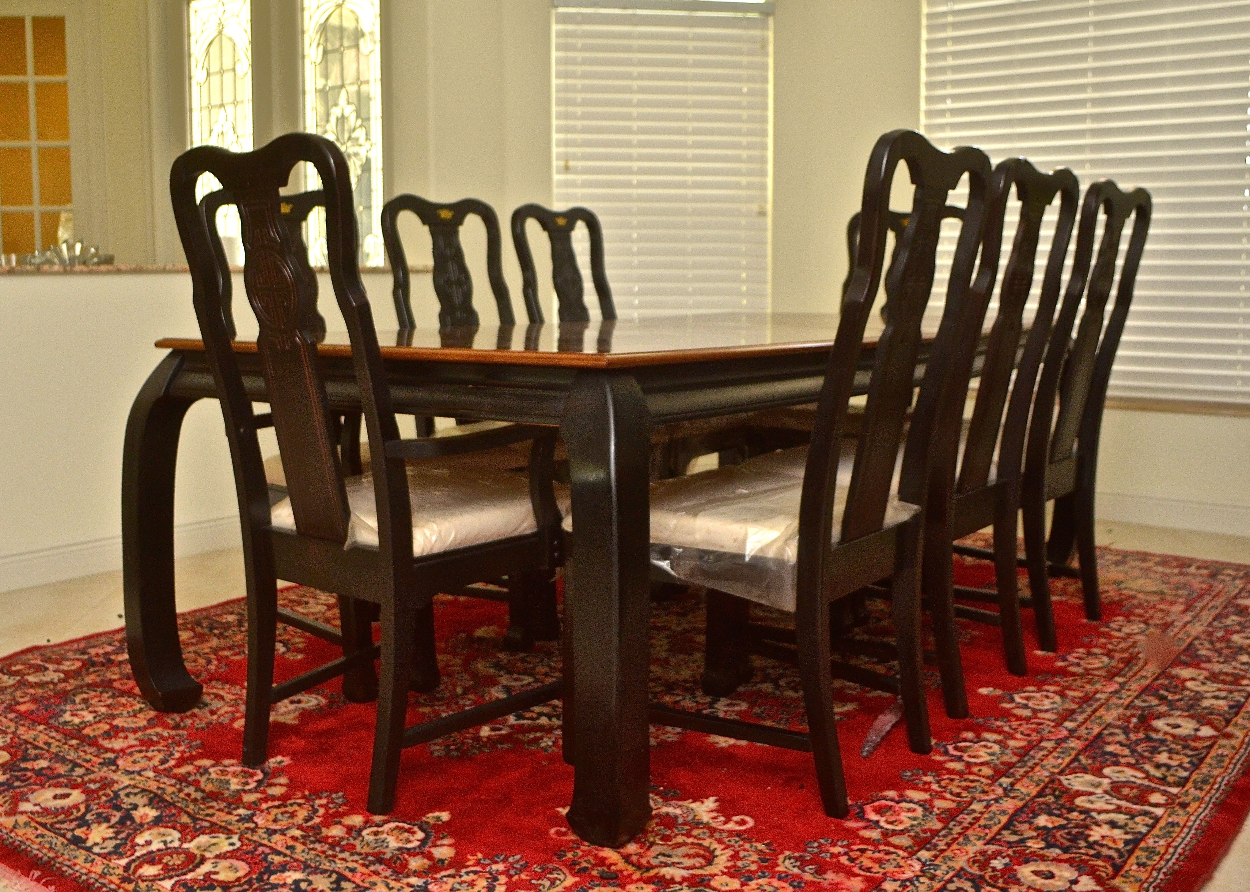 Asian Influened Dining Room Table with Eight Chairs EBTH : SDG9300jpgixlibrb 11 from www.ebth.com size 1400 x 1000 jpeg 329kB