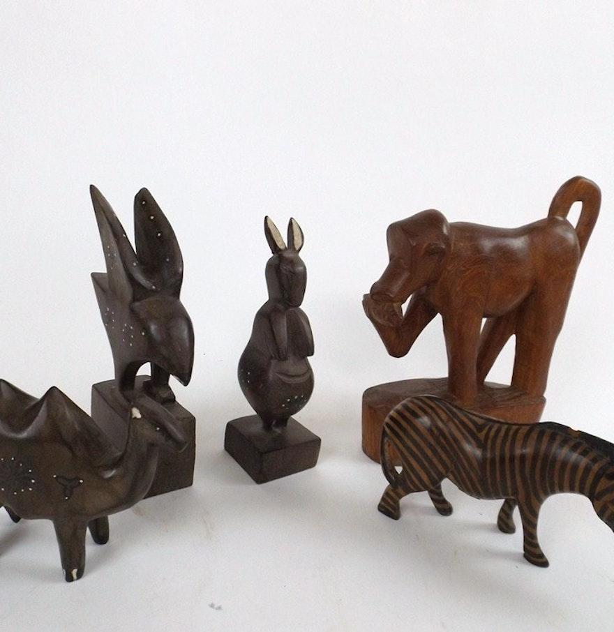 Carved wooden animals ebth