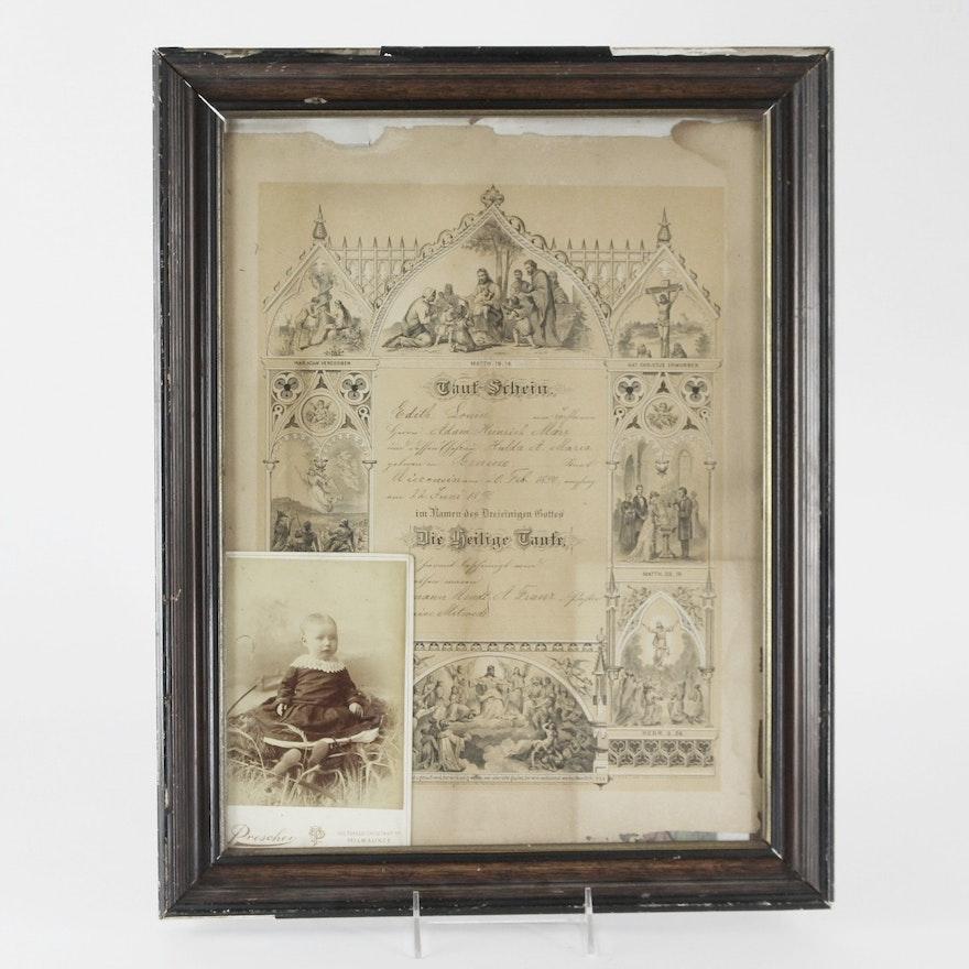 1890 German Baptismal Certificate And Sepia Baby Photo Ebth