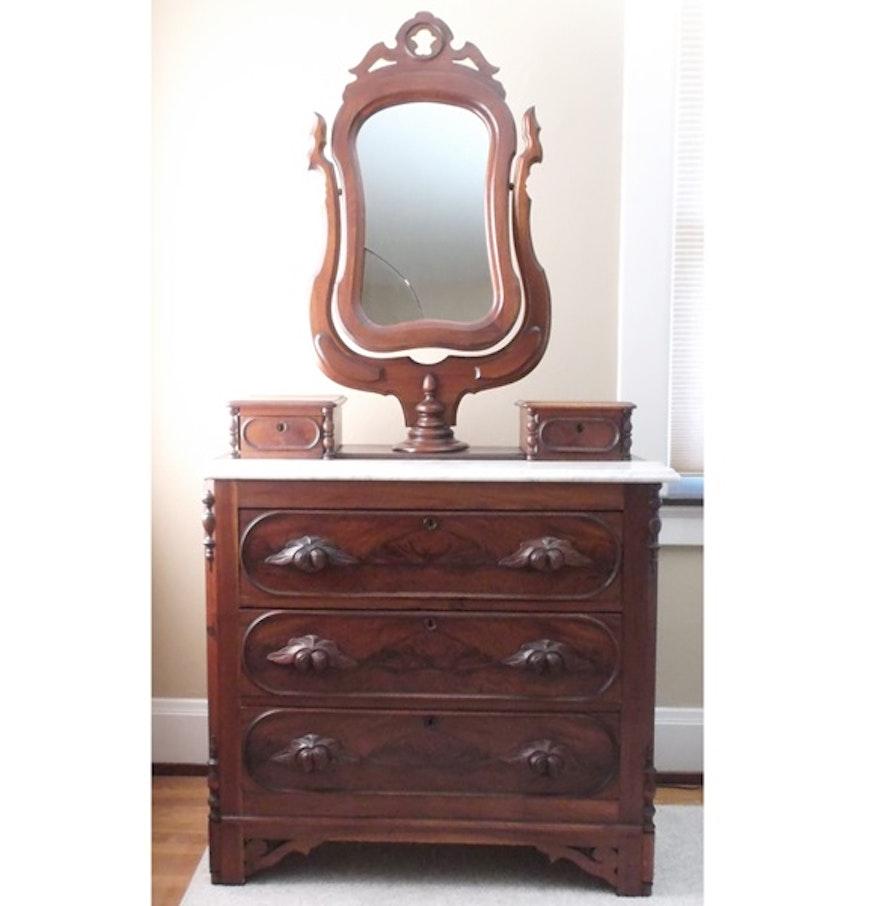 Victorian Walnut Swivel Mirror Dresser : EBTH