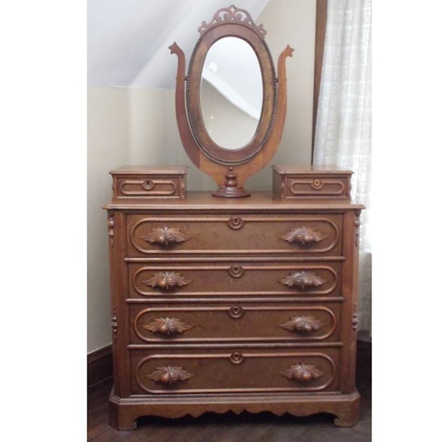 Victorian Walnut Swivel Mirror Dresser Ebth