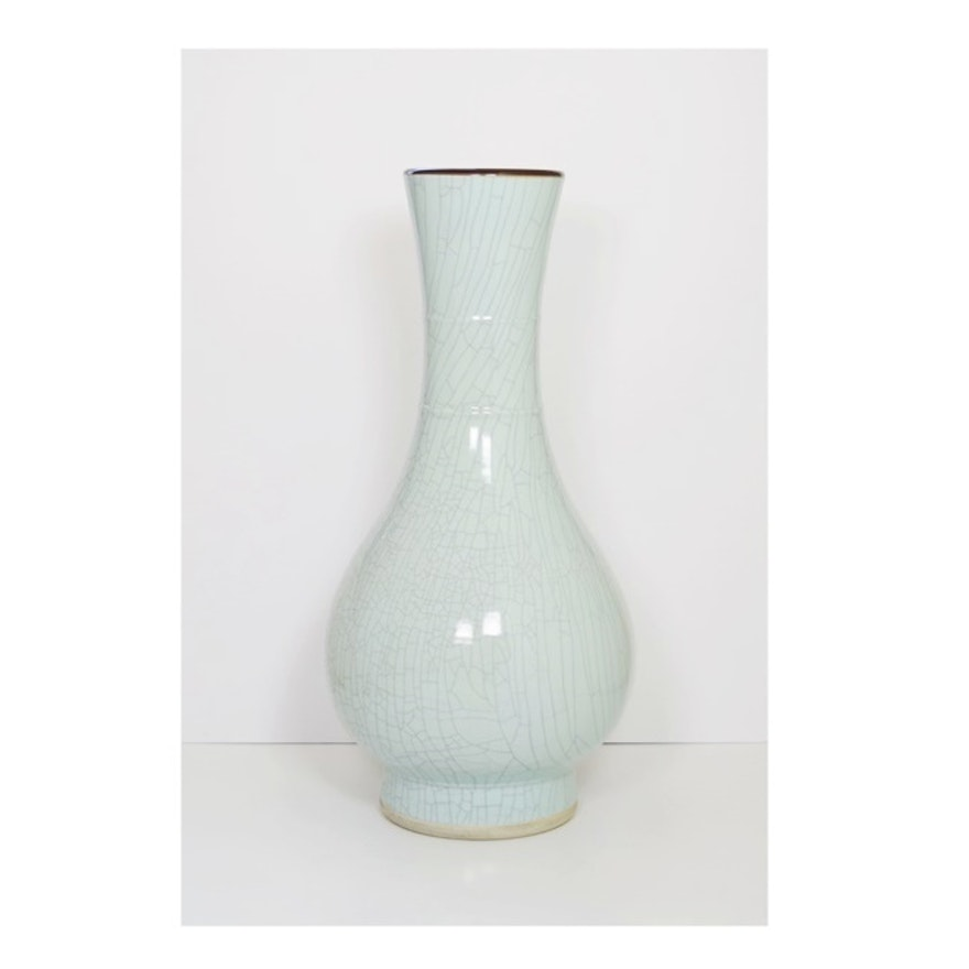 Impressive Maitland Smith Handmade Ceramic Vase In Pale Blue Ebth