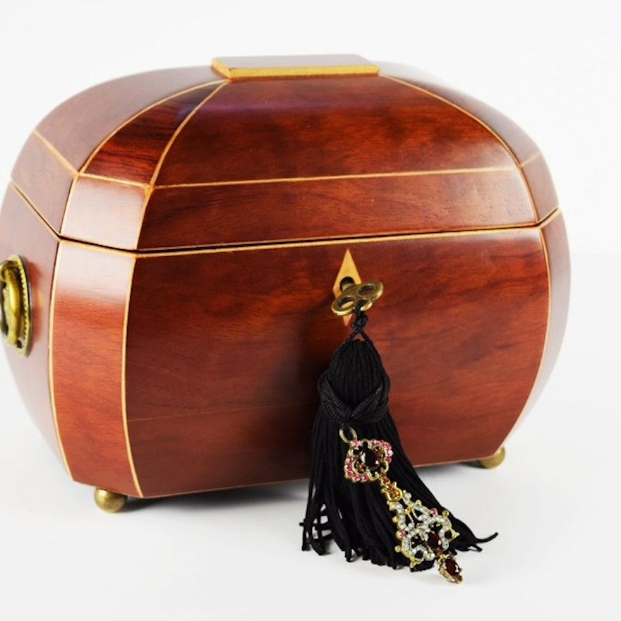 Bombay Company Tea Caddy Jewelry Box with Fitted Interior