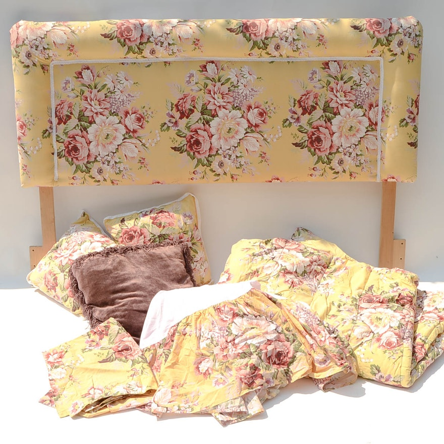 Upholstered queen size headboard and linens ebth for Queen size headboard
