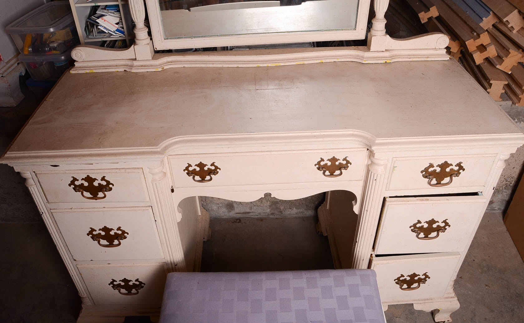 Vintage Vanity Desk With Mirror And Chair Ebth