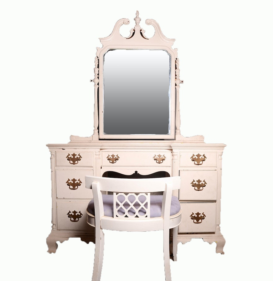 vintage vanity desk with mirror. Vintage Vanity Desk With Mirror And Chair EBTH  home decor Xshare us