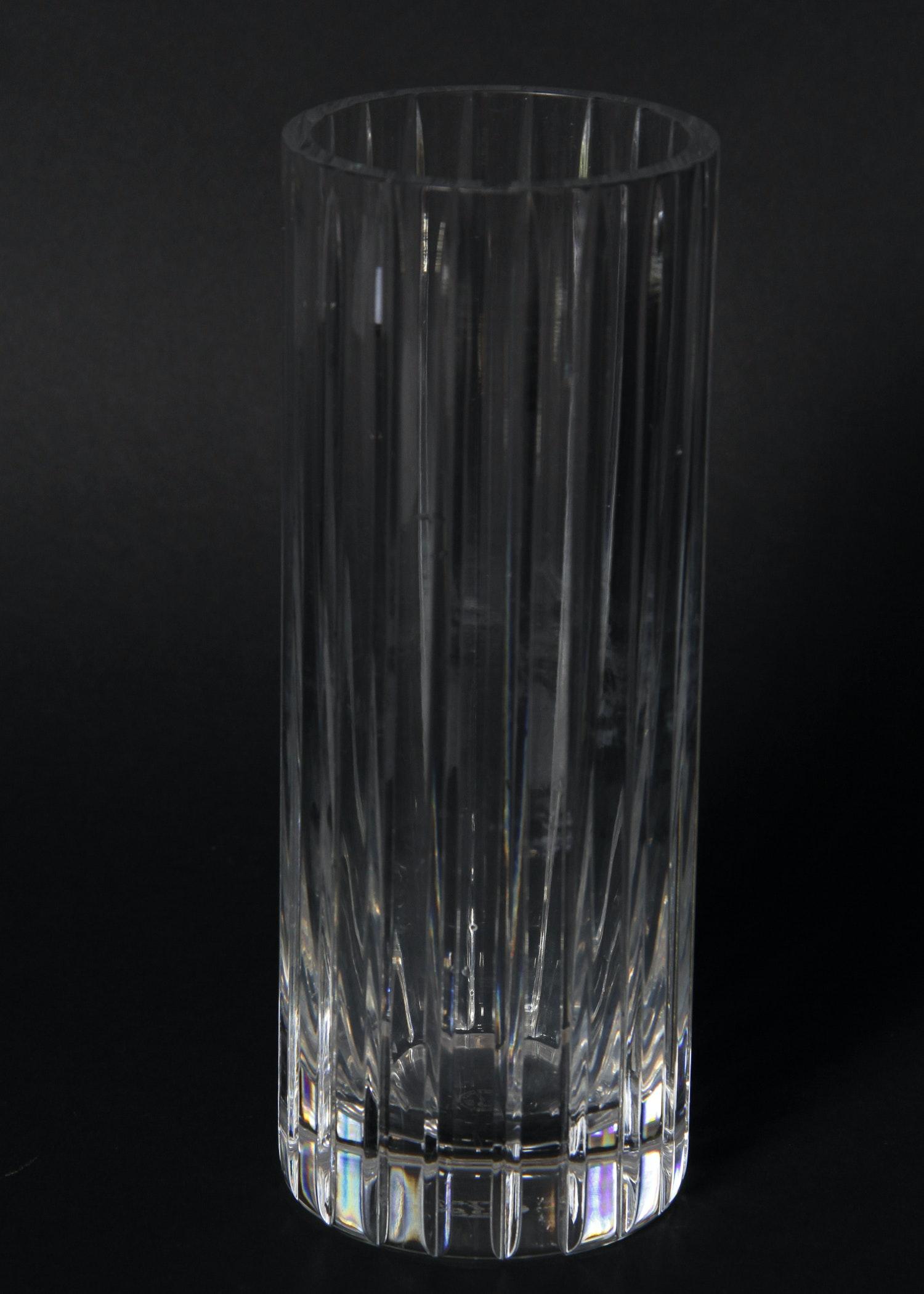 Baccarat Tall Cylinder Crystal Vase Ebth