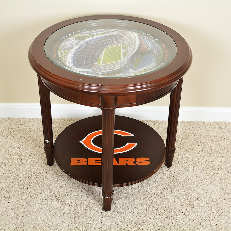 Chicago Bears Gl Top Side Table