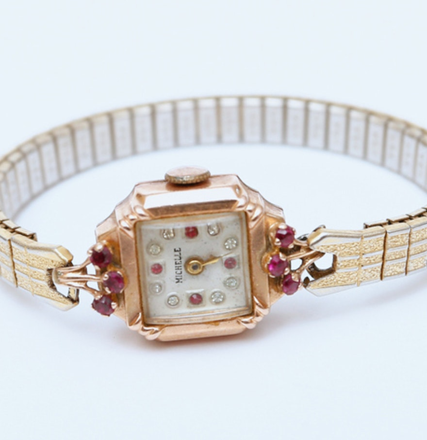 art deco rose gold watch with rubies ebth. Black Bedroom Furniture Sets. Home Design Ideas