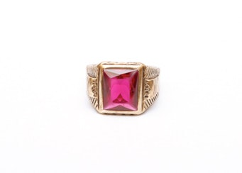 10k gold s synthetic ruby signet ring ebth