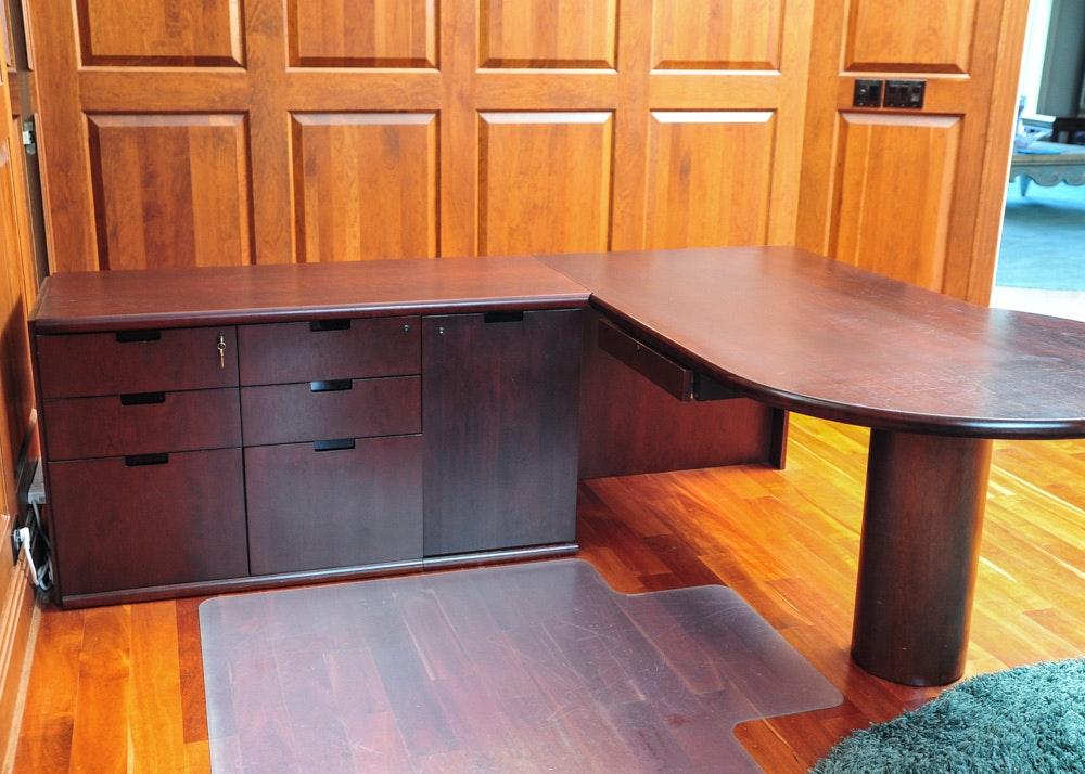 Cherry Laminate L Shaped Executive Desk Ebth