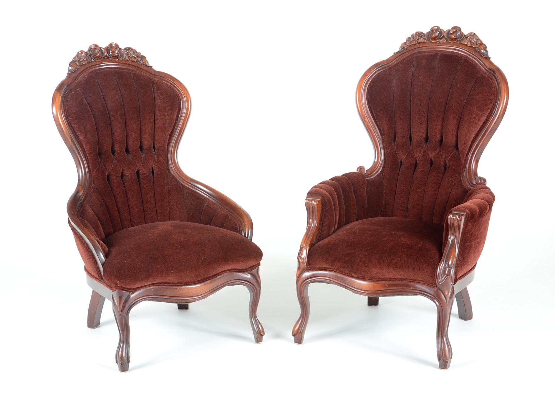 Pair Of Victorian Style Womenu0027s Parlor Chairs