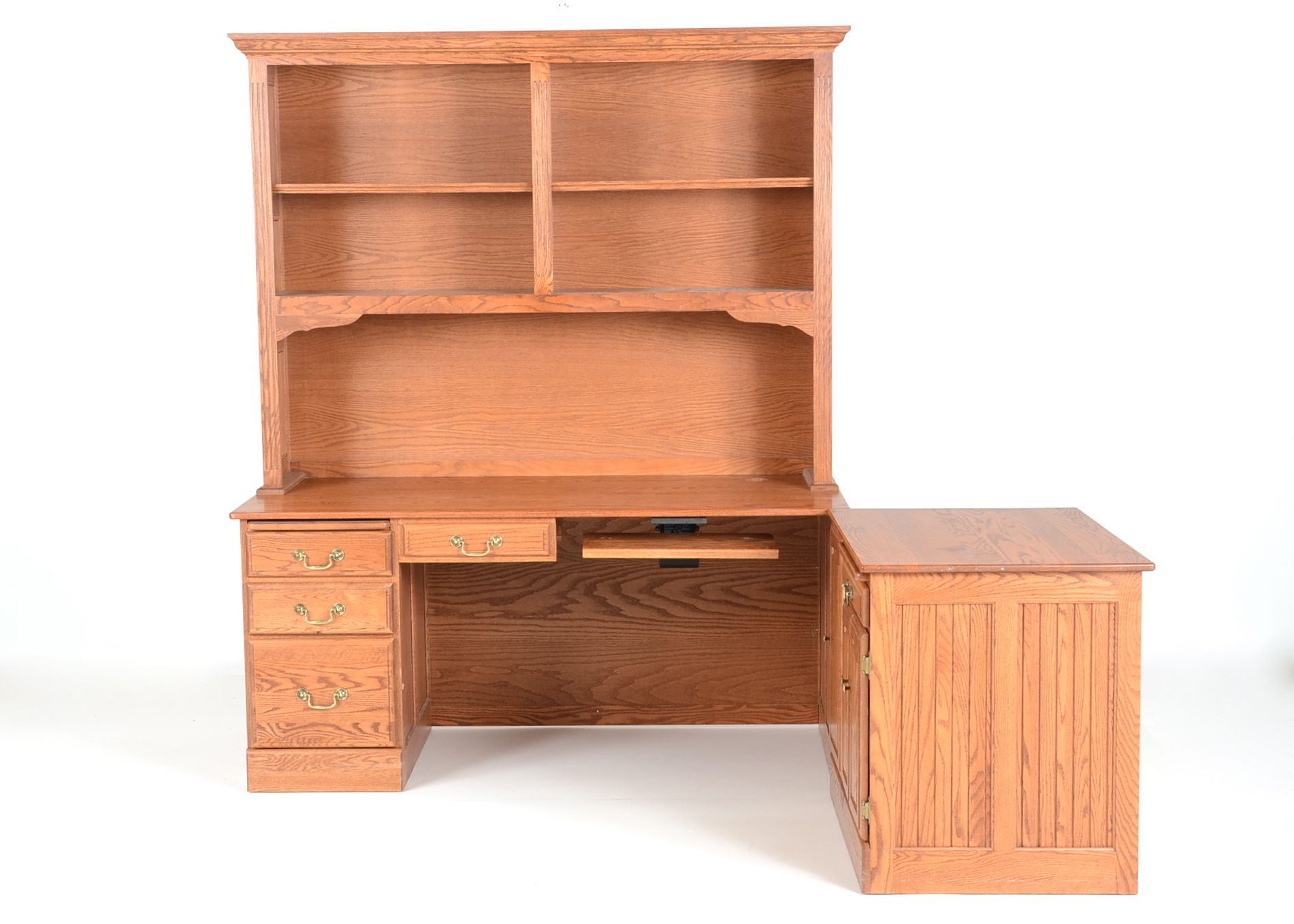Oak Office Desk With Hutch And Printer Cabinet ...