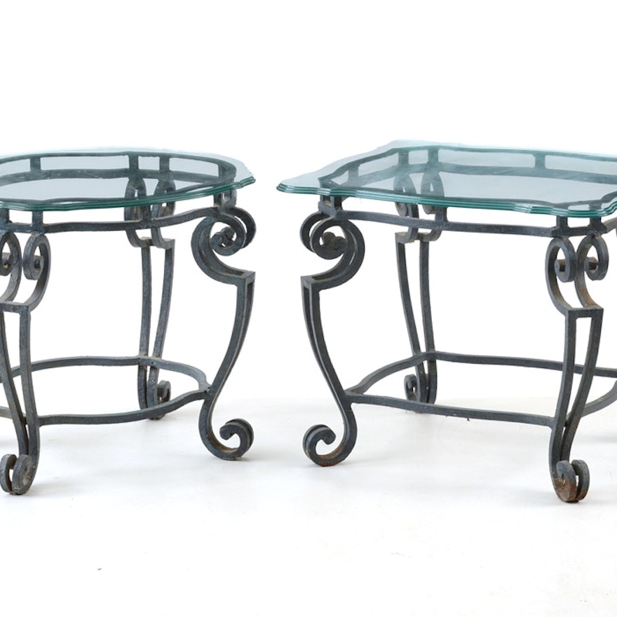 Pair Of Gl Top Wrought Iron End Tables