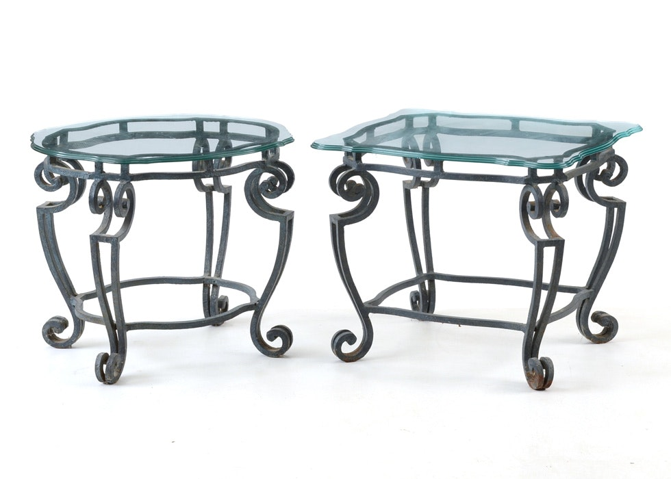 Superieur Pair Of Glass Top Wrought Iron End Tables ...