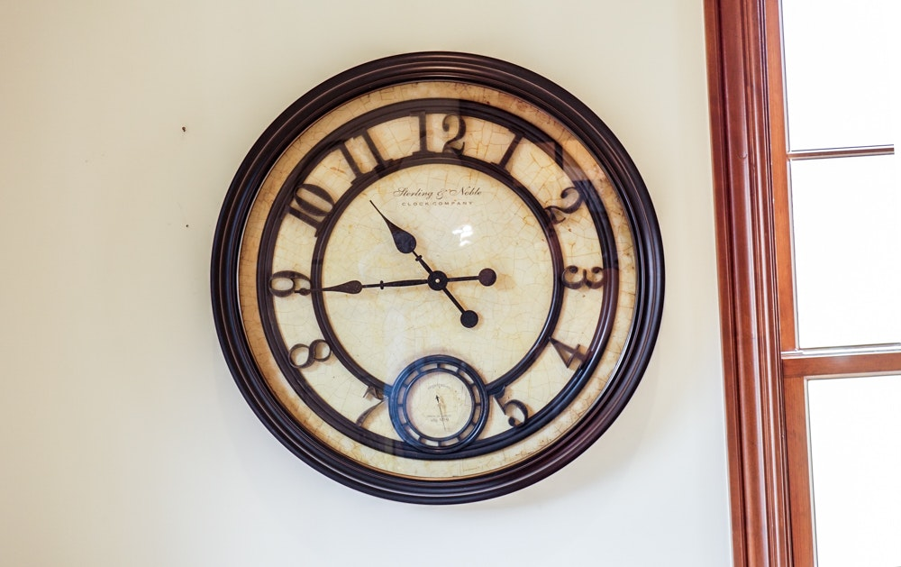 Large Round Sterling and Noble Wall Clock