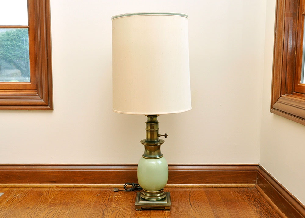 Stiffel Light Celadon Table Lamp With Glass Shade ...
