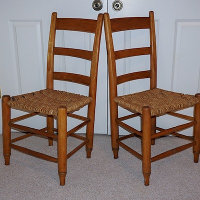 Pair of Vintage Rope Rush Seat Ladder Back Chairs - Vintage Chairs, Antique Chairs And Retro Chairs Auction In Prospect