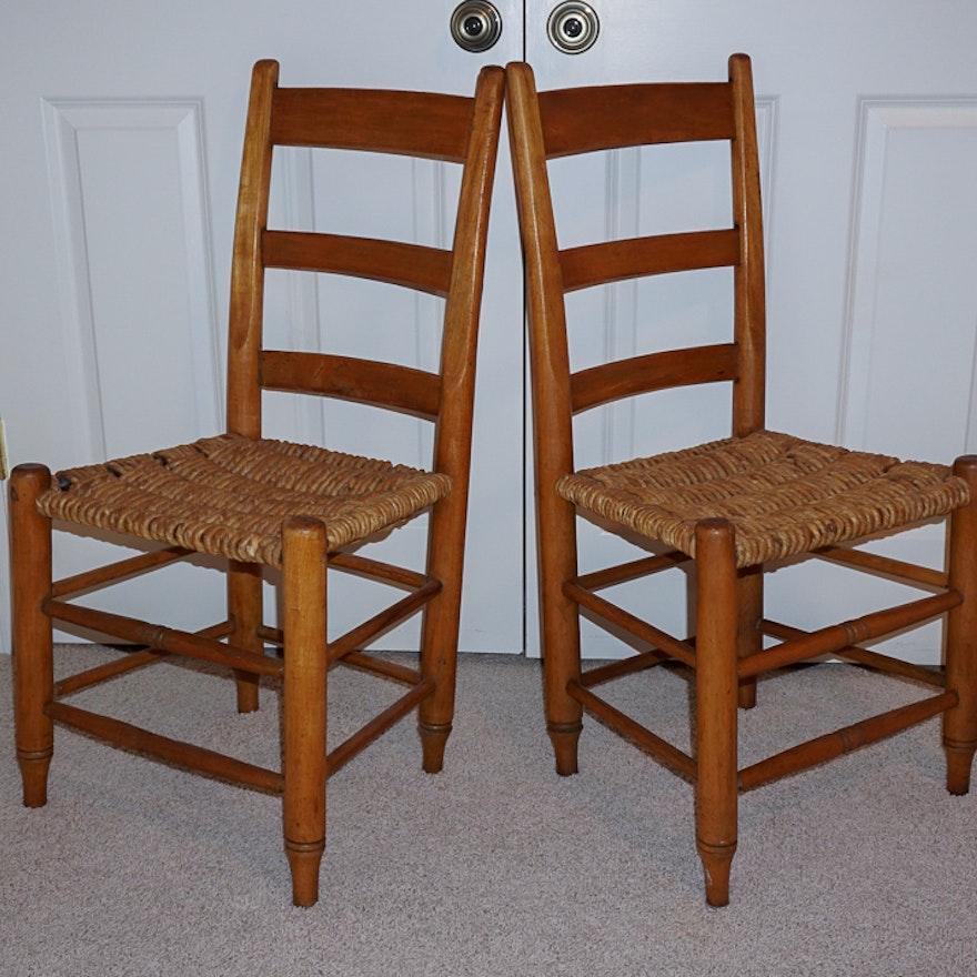 Pair of Vintage Rope Rush Seat Ladder Back Chairs ... - Pair Of Vintage Rope Rush Seat Ladder Back Chairs : EBTH