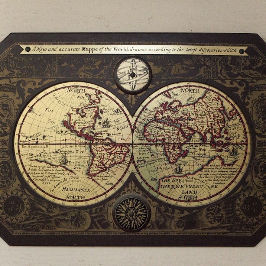 A New And Accurate Map Of The World 1628.Maskateers Inc Brass And Wood Old World Map Ebth