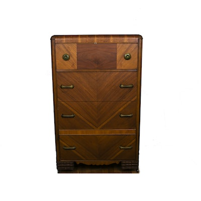 Art Deco Waterfall Tall Chest of Drawers - Online Furniture Auctions Vintage Furniture Auction Antique