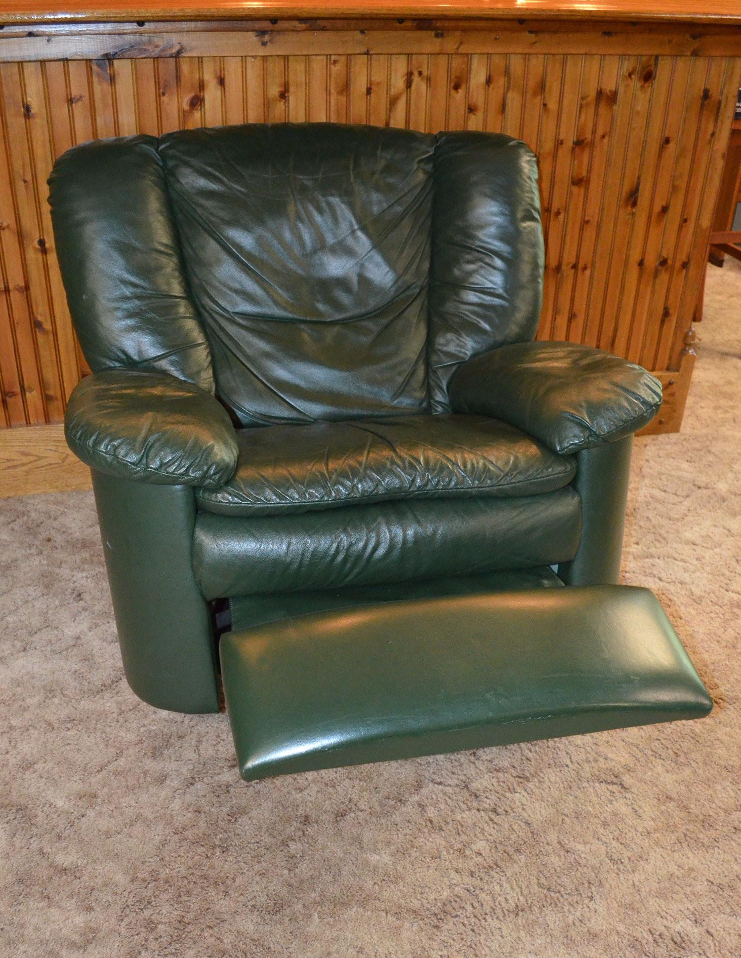 Natuzzi Dark Green Leather Swivel Rocker Recliner Ebth