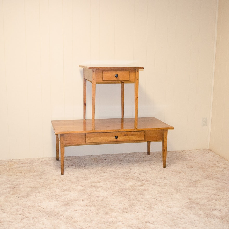 Knotty Pine Shaker Style Coffee And End Tables