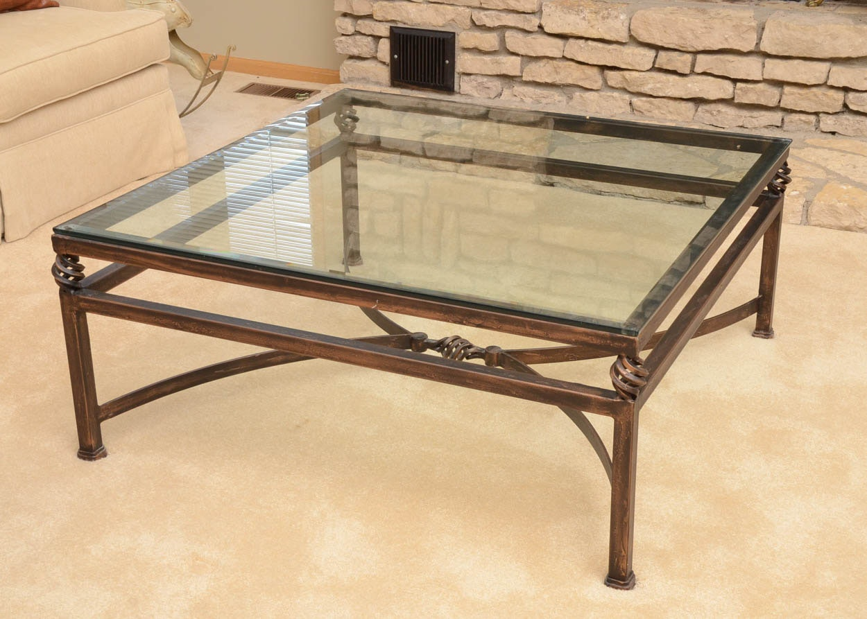 cast iron coffee table with glass top : ebth