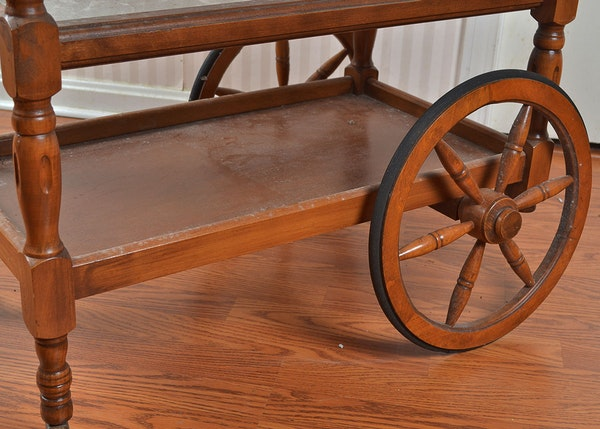 Oak rolling cart with table leaves ebth