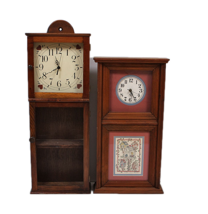 Two country home style wall clocks ebth - Country style wall clocks ...