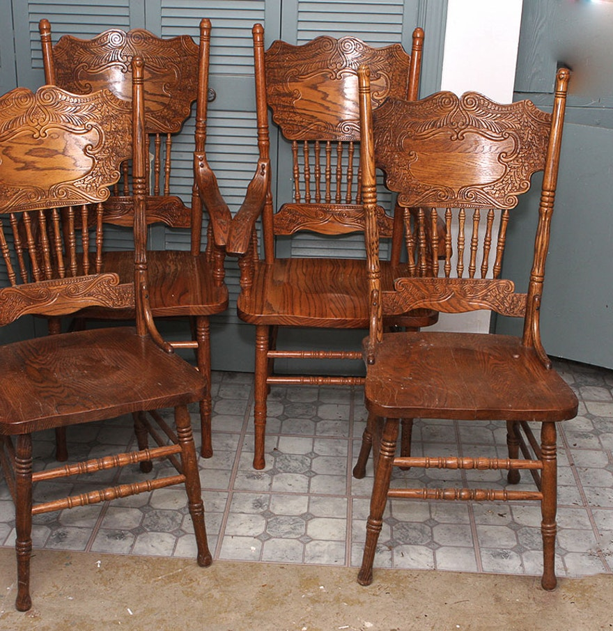 Four Oak Spindle Back Dining Chairs : EBTH