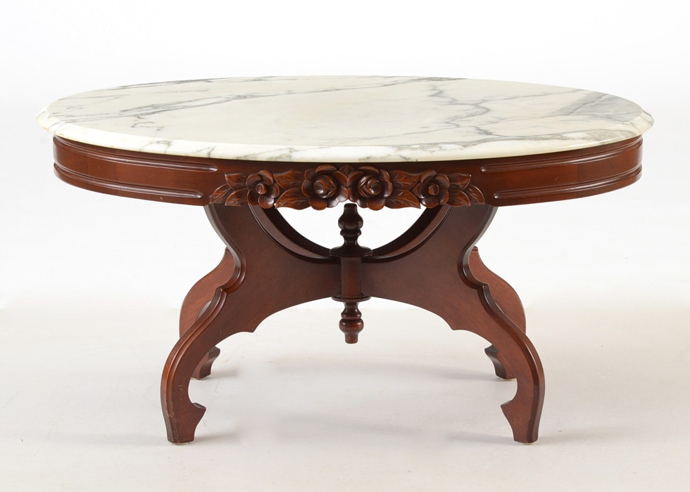 Victorian Style Marble Top Coffee Table Ebth