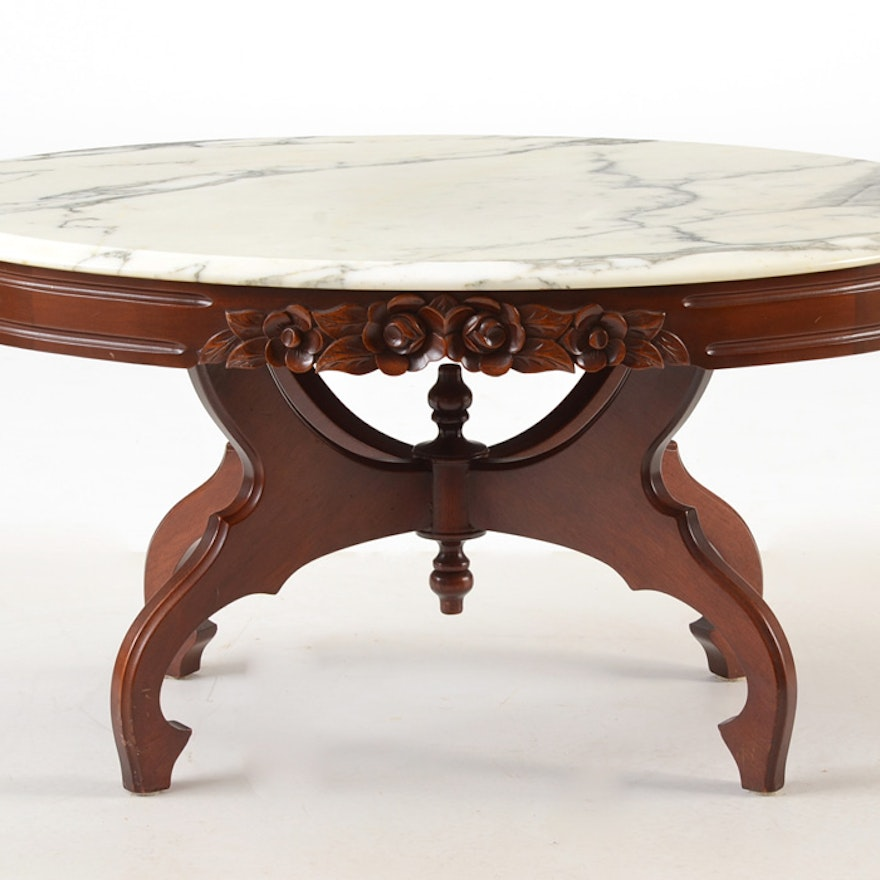 Marble Top Coffee And Side Tables: Victorian Style Marble-Top Coffee Table